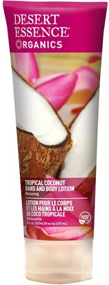 Baño, Belleza, Loción Corporal Desert Essence, Organics, Hand and Body Lotion, Tropical Coconut, 8 fl oz (237 ml)