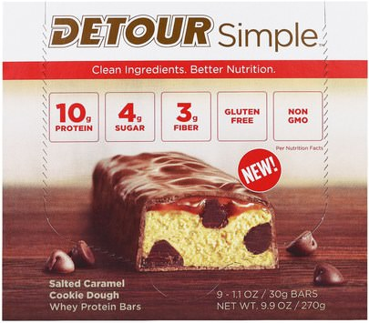 Deportes, Barras De Proteína, Refrigerios, Refrigerios Saludables Detour, Simple, Whey Protein Bars, Salted Caramel Cookie Dough, 9 Bars, 1.1 oz (30 g) Each