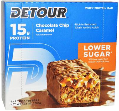 Deportes, Barras De Proteína Detour, Whey Protein Bar, Chocolate Chip Caramel, 9 Bars, 1.5 oz (43 g) Each