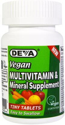 Vitaminas, Multivitaminas Deva, Vegan, Multivitamin & Mineral Supplement, Tiny Tablets, 90 Tablets