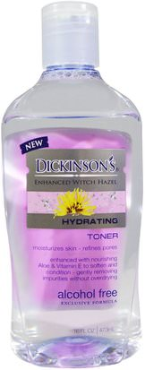 Belleza, Tónicos Faciales, Piel, Hamamelis Dickinson Brands, Enhanced Witch Hazel, Hydrating Toner, Alcohol Free, 16 fl oz (473 ml)