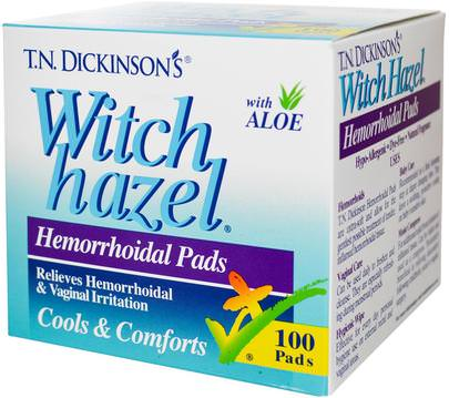 Salud, Hemorroides, Productos De Hemorroides Dickinson Brands, T.N. Dickinsons Witch Hazel Hemorrhoidal Pads, with Aloe, 100 Pads