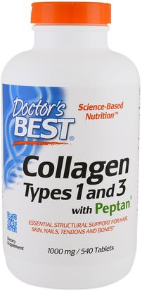 Salud, Hueso, Osteoporosis, Colágeno Doctors Best, Collagen Types 1 and 3 with Peptan, 1,000 mg, 540 Tablets