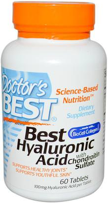 Salud, Mujeres, Hialurónico, Hueso, Osteoporosis Doctors Best, Best Hyaluronic Acid with Chondroitin Sulfate, 60 Tablets