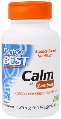 Salud, Estado De Ánimo, Ansiedad Doctors Best, Calm with Zembrin, 25 mg, 60 Veggie Caps