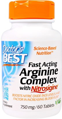 Suplementos, Minerales, Potasio Doctors Best, Fast Acting Arginine Complex with Nitrosigine, 750 mg, 60 Tablets