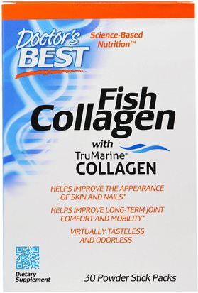 Suplementos, Efa Omega 3 6 9 (Epa Dha), Aceite De Pescado Doctors Best, Fish Collagen With TruMarine Collagen, 30 Powder Stick Packs