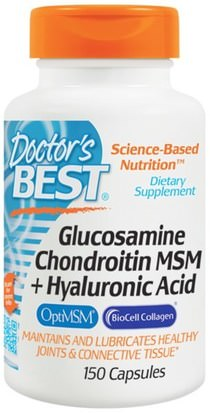 Salud, Hueso, Osteoporosis, Belleza, Anti Envejecimiento, Ácido Hialurónico Doctors Best, Glucosamine Chondroitin MSM + Hyaluronic Acid, 150 Capsules