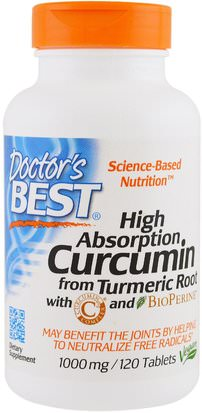Suplementos, Antioxidantes, Complejo Curcumina C3 Doctors Best, High Absorption Curcumin with C3 Complex and BioPerine, 1,000 mg, 120 Tablets