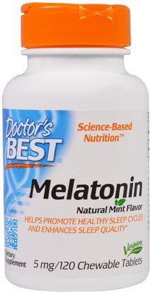 Suplementos, Melatonina 5 Mg Doctors Best, Melatonin, Natural Mint Flavor, 5 mg, 120 Chewable Tablets