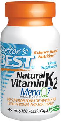 Vitaminas, Vitamina K, Hueso, Osteoporosis Doctors Best, Natural Vitamin K2 MK7, with Mena Q7, 45 mcg, 180 Veggie Caps