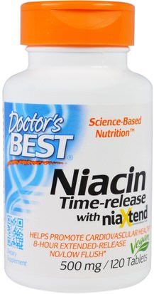 Vitaminas, Vitamina B, Vitamina B3, Vitamina B3 - Niacina Libre De Rubor Doctors Best, Niacin, Time-Released With Niaxtend, 500 mg, 120 Tablets
