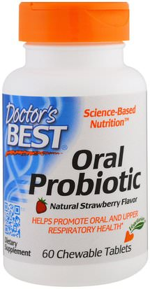 Suplementos, Baño, Belleza, Cuidado Dental Bucal Doctors Best, Oral Probiotic, Natural Strawberry Flavor, 60 Chewable Tablets