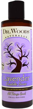 Baño, Belleza, Jabón, Gel De Ducha Dr. Woods, Lavender Castile Soap with Fair Trade Shea Butter, 8 fl oz (236 ml)