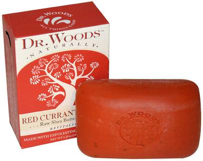 Baño, Belleza, Jabón, Manteca De Karité Dr. Woods, Raw Shea Butter Soap, Red Currant Clove, 5.25 oz (149 g)