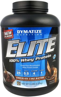 Deportes, Músculo Dymatize Nutrition, Elite, 100% Whey Protein, Chocolate Cake Batter, 5 lbs (2.27 kg)