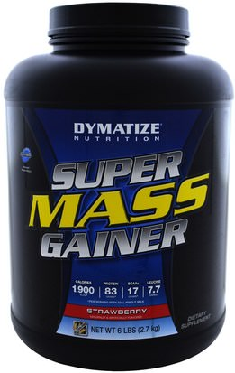 Deportes, Suplementos, Proteínas Dymatize Nutrition, Super Mass Gainer, Strawberry, 6 lbs (2.7 kg)