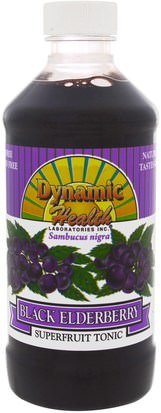 Alimentos, Café, Té Y Bebidas, Zumos De Frutas Dynamic Health Laboratories, Dynamic Health Laboratories, Black Elderberry, Superfruit Tonic, 8 fl oz (237 ml)