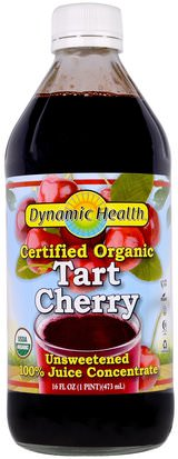 Alimentos, Café, Té Y Bebidas, Zumos De Frutas Dynamic Health Laboratories, Certified Organic, Tart Cherry 100% Juice Concentrate, Unsweetened, 16 fl oz (473 ml)