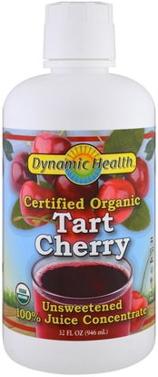 Alimentos, Café, Té Y Bebidas, Zumos De Frutas Dynamic Health Laboratories, Certified Organic Tart Cherry Juice Concentrate, Unsweetened, 32 fl oz (946 ml)