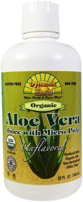 Alimentos, Café, Té Y Bebidas, Zumos De Frutas Dynamic Health Laboratories, Organic Aloe Vera Juice with Micro Pulp, Unflavored, 32 fl oz (946 ml)