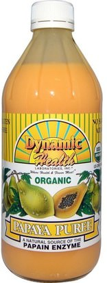 Alimentos, Café, Té Y Bebidas, Zumos De Frutas Dynamic Health Laboratories, Organic, Papaya Puree, 16 fl oz (473 ml)