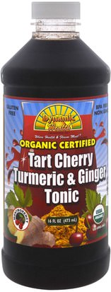 Suplementos, Antioxidantes, Curcumina Dynamic Health Laboratories, Organic Tumeric & Ginger Tonic, Tart Cherry, 16 fl oz (473 ml)