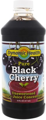 Alimentos, Café, Té Y Bebidas, Zumos De Frutas Dynamic Health Laboratories, Pure Black Cherry Juice, Unsweetened, 16 fl oz (473 ml)