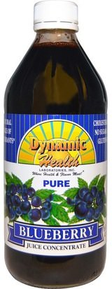 Alimentos, Café, Té Y Bebidas, Zumos De Frutas Dynamic Health Laboratories, Pure Blueberry Juice Concentrate, 16 fl oz (473 ml)