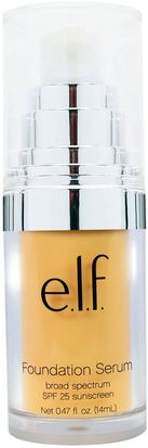 Cara E.L.F. Cosmetics, Beautifully Bare Foundation Serum, Broad Spectrum SPF 25 Sunscreen, Fair/Light, 0.47 fl oz (14 ml)