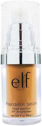 Cara E.L.F. Cosmetics, Beautifully Bare Foundation Serum, Broad Spectrum SPF 25 Sunscreen, Medium/Dark, 0.47 fl oz (14 ml)