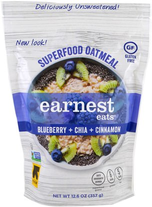 Alimentos, Alimentos, Cereales, Cereales Integrales, Harina De Avena Y Avena Earnest Eats, Superfood Oatmeal, Blueberry + Chia + Cinnamon, 12.6 oz (357 g)