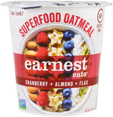 Alimentos, Alimentos, Cereales, Cereales Integrales, Harina De Avena Y Avena Earnest Eats, Superfood Oatmeal, Cranberry + Almond + Flax, American Blend, 2.35 oz (67 g)