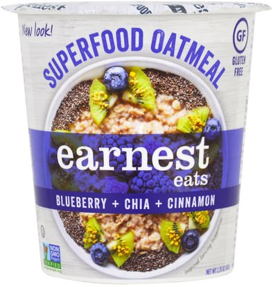Comida, Alimentos, Avena Avena Earnest Eats, SuperFood Oatmeal Cup, Blueberry + Chia + Cinnamon, Superfood Blueberry Chia, 2.35 oz (67 g)
