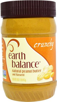 Comida, Mantequilla De Maní Earth Balance, Natural Peanut Butter and Flaxseed, Crunchy, 16 oz (453 g)