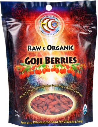 Suplementos, Adaptógeno, Fruta Seca Earth Circle Organics, Raw & Organic Goji Berries, 8 oz (227 g)