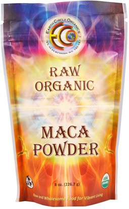 Suplementos, Adaptógeno, Superalimentos Earth Circle Organics, Raw Organic Maca Powder, 8 oz (226.7 g)