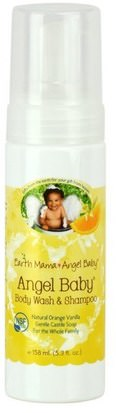 Salud Para Niños, Baño Para Niños, Champú, Champú Para Niños Earth Mama Angel Baby, Angel Baby Shampoo & Body Wash, Natural Orange Vanilla, 5.3 fl oz (160 ml)