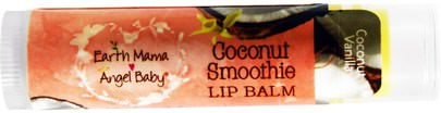 Baño, Belleza, Cuidado De Labios, Postparto, Bálsamos Labiales Earth Mama Angel Baby, Coconut Smoothie Lip Balm, Coconut Vanilla.15 oz (4 ml)