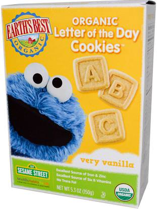 Salud De Los Niños, Alimentación Del Bebé, Refrigerios Y Aperitivos Para Bebés, Galletas Para Hornear Galletas, Refrigerios Para Niños Pequeños Earths Best, Organic Letter of the Day Cookies, Very Vanilla, 5.3 oz (150 g)