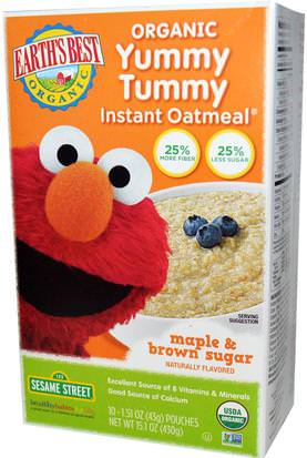 Salud De Los Niños, Alimentos Para Niños, Alimentación De Bebés, Cereales Para Bebés Earths Best, Organic Yummy Tummy Instant Oatmeal, Maple & Brown Sugar, 10 Pouches, 1.51 oz (43 g) Each