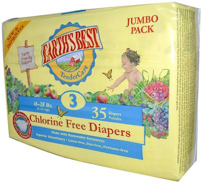 Salud Para Niños, Cambio De Pañales, Pañales Desechables Earths Best, TenderCare, Chlorine Free Diapers, Size 3, 16-28 lbs, 35 Diapers