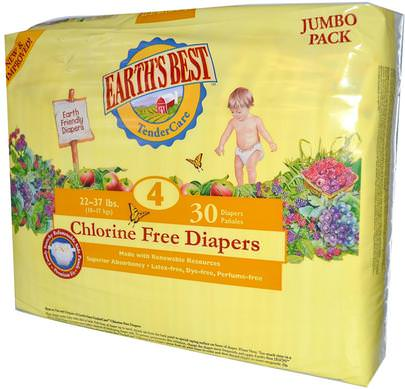 Salud Para Niños, Cambio De Pañales, Pañales Desechables Earths Best, TenderCare, Chlorine Free Diapers, Size 4, 22-37 lbs, 30 Diapers