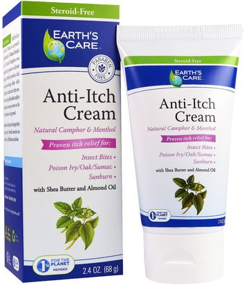 Baño, Belleza, Manteca De Karité, Anti Dolor Earths Care, Anti-Itch Cream, with Shea Butter and Almond Oil, 2.4 oz (68 g)