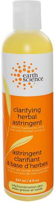Belleza, Tónicos Faciales, Cuidado Facial, Astringentes Earth Science, Clarifying Herbal Astringent, 8 fl oz (237 ml)