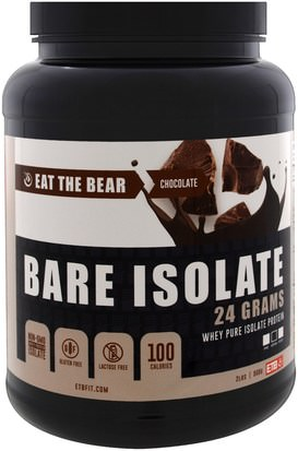 Deportes, Suplementos, Proteína De Suero De Leche Eat the Bear, Bare Isolate, Whey Pure Protein Isolate, Chocolate, 2 lbs (908 g)