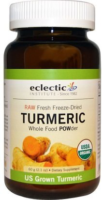 Suplementos, Antioxidantes, Curcumina Eclectic Institute, Turmeric, Whole Food POWder, 2.1 oz (60 g)