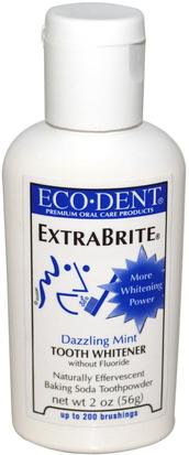Baño, Belleza, Pasta De Dientes, Cuidado Dental Bucal, Blanqueamiento Dental Eco-Dent, ExtraBrite, Dazzling Mint, Tooth Whitener, Without Fluoride, 2 oz (56 g)