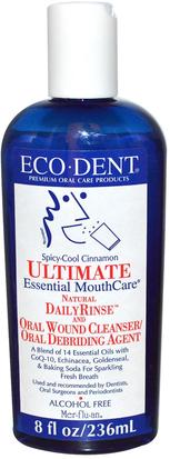 Baño, Belleza, Cuidado Dental Bucal, Enjuague Bucal Eco-Dent, Ultimate Essential MouthCare, Natural Daily Rinse & Oral Cleanser, Alcohol Free, Spicy-Cool Cinnamon, 8 fl oz (236 ml)