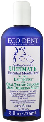 Baño, Belleza, Cuidado Dental Bucal, Enjuague Bucal Eco-Dent, Ultimate Essential MouthCare, Natural Daily Rinse & Oral Cleanser, Alcohol Free, Sparkling Clean Mint, 8 fl oz (236 ml)